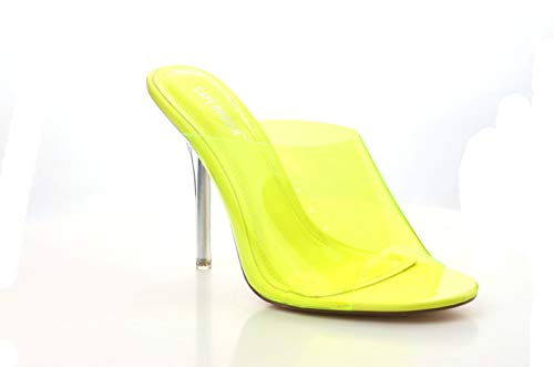 Shoes2Die4 Cape Robbin Paint Yellow Yellow Transparent Open Toe Mule Heel