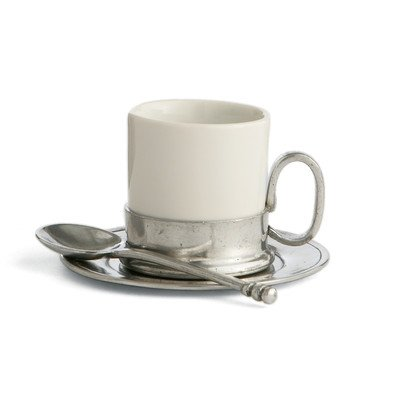 Arte Italica Caffe Espresso Cup & Saucer with Spoon by Arte Italica