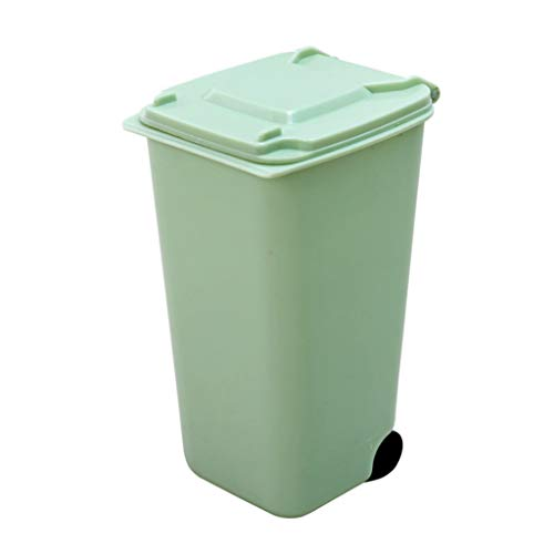 Ktyssp Mini Plastic Trash Can Storage Bin Desktop Organizer Pen Pencil Holder Mini Trash Bin (Green)