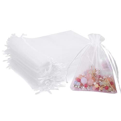 Outdoorfly 50PCS Drawstring Organza Bags 5x7 Inches White Transparent Jewelry Favor Pouches Baby Shower Party Wedding Gift Bags Chocolate Candy Bags(50PCS White) ()
