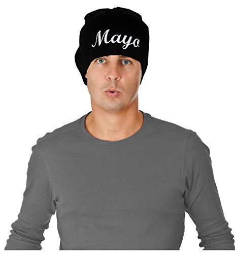 Men's Black Get Hard Style Mayo Beanie Costume Mayo Beanie Hat]()