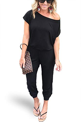 Thick Beam - Alelly Women's Sexy Off Shoulder Elastic Waist Beam Foot Jumpsuit Rompers Black