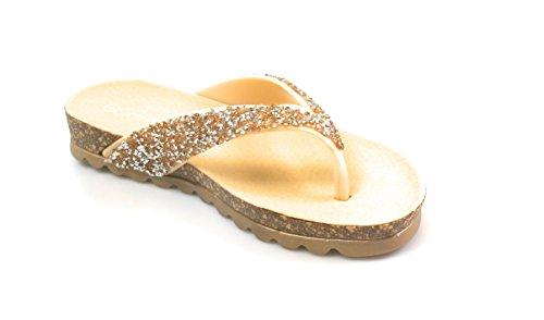 Pour Toujours Lien Bracelet À Paillettes Pour Femme Style Liège Sandales Plates Yuki-12 Rose-gold