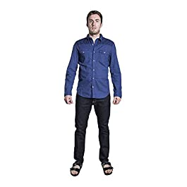 DISTILLED Men's Casual Long Sleeve Button Down Western Vintage Shirt
