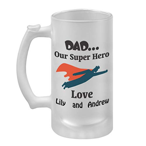Personalized Custom Family Dad... Our Super Hero Frosted Glass Stein Beer Mug