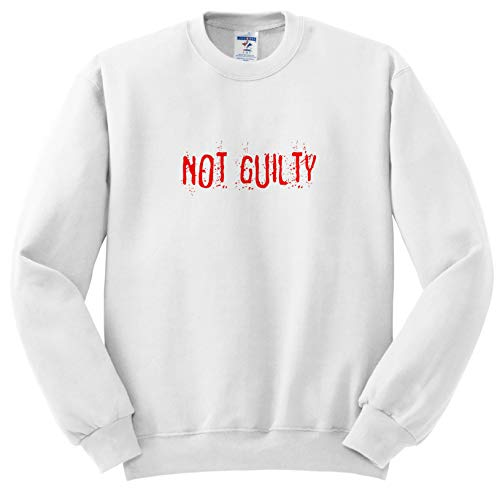 Alexis Design - Typography Funny - Red Text Not Guilty on White Surface. Halloween Horror Theme - Sweatshirts - Adult Sweatshirt Medium -