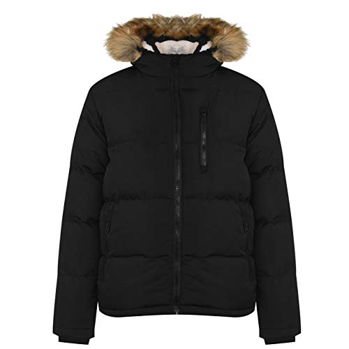 Soul Cal Mens 2 Zip Bubble Jacket Puffer Coat Top Warm Fur