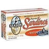 Seasons Sardine Nsa Skls & Bnls Water,4.25 Ounce (Pack of 12)