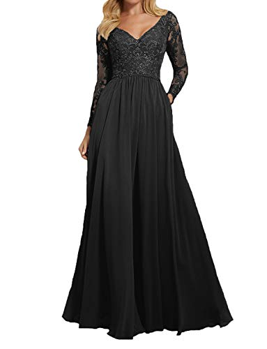 PearlBridal Womens Long Lace Bridesmaid Gowns 2019 Long Sleeves Wedding Formal Dresses