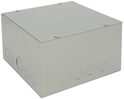(BUD Industries JB-3961-KO Steel NEMA 1 Sheet Metal Junction Box with Knockout and Lift-Off Screw Cover, 10