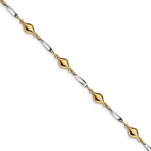 Diamond2Deal 14k Gold Two-tone Fancy Bracelet 7.5inch by Diamond2Deal