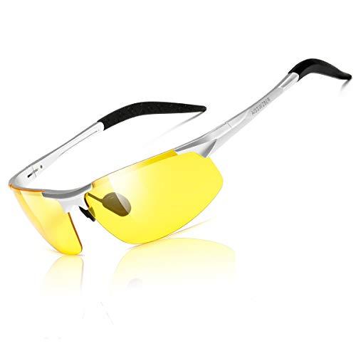aisswzber Night Vision Glasses Driving Sports Anti-Glare HD Polarized for Men 8177