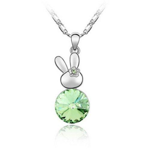 Alvdis Premium Bunny Shaped Green Crystal Necklace - Genuine Swarovski Crystal Elements Pendant