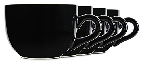 22oz Black Ceramic Jumbo Bowl Mugs with Thick Walls, Handle, and Wide Mouth, Set of 4 by Serami