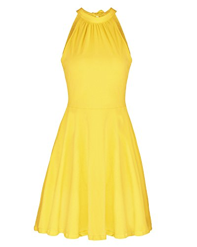 Yellow Cotton Dress - OUGES Women's Stand Collar Off Shoulder Sleeveless Cotton Casual Dress(Yellow,XL)