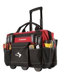 Husky Rolling Tool Tote 18 in, Constructed of 600 Denier Spun Tuff Heavy-Duty, Water-Resistant Material