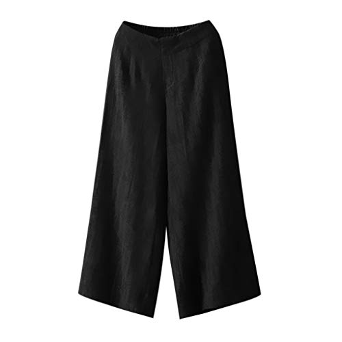 Cotton Linen Pants for Women Summer Casual Wide Leg Elastic Waist Palazzo Culottes Trousers Flare Boho Pants nikunLONG Black