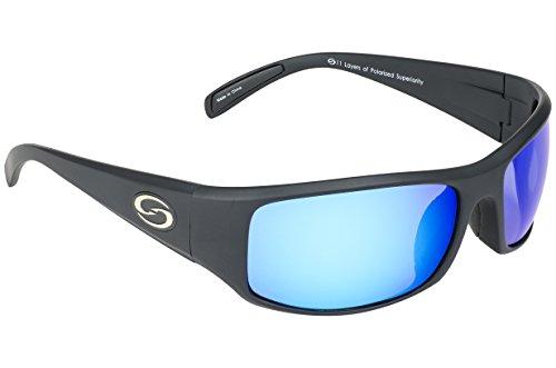 (Strike King Optics Polarized SG Okeechobee Sunglasses, Matte Black Frame/White/Blue Mirror Gray Base Lens)