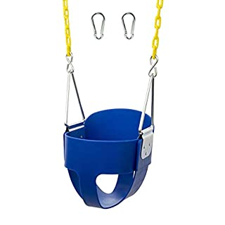 Squirrel Products High Back Full Bucket Toddler Swing Seat with Plastic Coated Chains and Carabiners for Easy Install – Pink