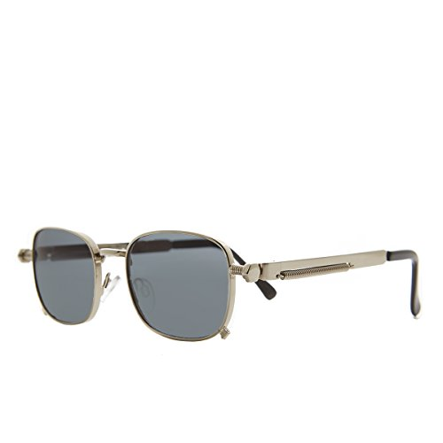 Sunglass Museum - Tailored Steampunk Silver Sunglass with Industrial Temples and Gray - Tyga Sunglasses