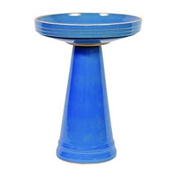 Bird's Choice Burley Clay Simple Elegance Bellflower Blue Bird Bath, Medium