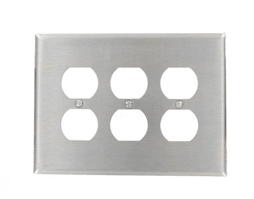 Leviton 84130-40 3-Gang Duplex Device Receptacle Wallplate, Oversized, Device Mount, Stainless ()