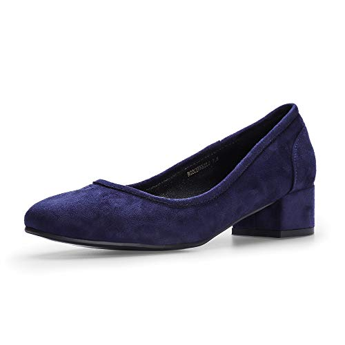 IDIFU Women's RO2 Fashion Chunky-LO Closed Square Toe Low Chunky Block Heel Slip on Pumps Shoes (6 M US, Blue Suede) ()