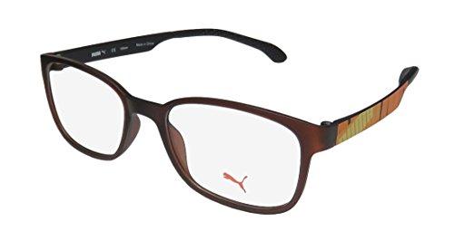 Puma 15440 Mens/Womens Designer Full-rim Eyeglasses/Eyewear (48-17-135, Brown / Yellow / - Hingeless Eyeglasses