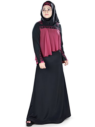 MyBatua negro bordado musulmanes fiesta y traje formal abaya burka vestido AY-408