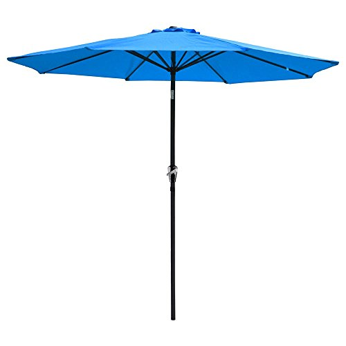 Yeshom 9ft Aluminum Outdoor Garden Patio Umbrella with Crank Tilt Deck Market Yard Beach Pool Cafe Blue