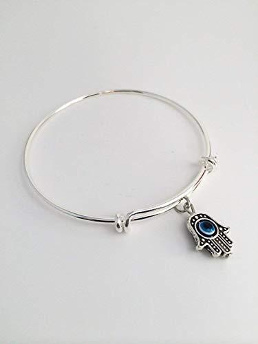 Evil Stack - Hamsa Evil Eye Hand of Fatima Charm Bangle Bracelet, Gifts for Women and Teens