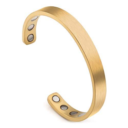Jovivi Personalized Custom Titanium Magnetic Matte Plain Cuff Bangle Bracelets for Men Women Therapy, 8mm,Gold Plated/Black/Silver/Rose Gold (Magnetic Bracelets Gold)