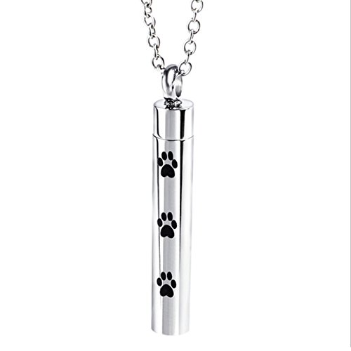 blingflower Titanium Steel Ashtray Pendant Necklace Pet Dog Paw Print Pendant for Dog, Cat, Animal Ashes
