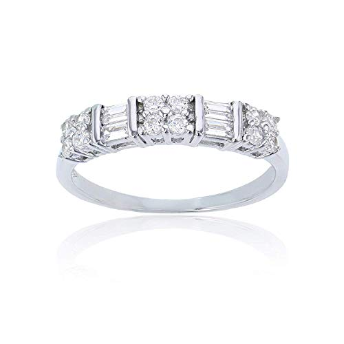 Sterling Silver Alternating Baguette & Round Cut Cubic Zirconia Anniversary Band Ring | Simulated Diamond Flawless VVS CZ | Sizes 6-9 | Wedding Anniversary Band for Women | Size 6