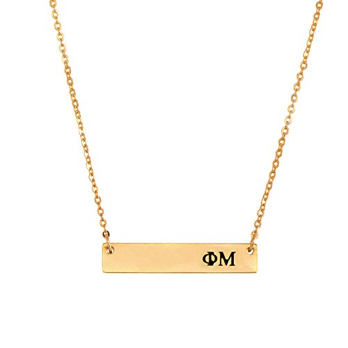 Phi Mu 24K Gold Plated Horizontal Bar Necklace Greek Sorority Letter with Adjustable Chain - Phi Mu Fraternity