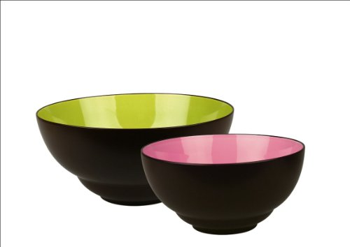 Waechtersbach Duo Set of 2 Stacking Serving Bowls, Mint/Fuchsia