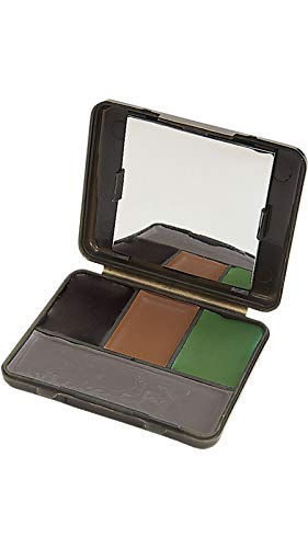 Allen Four Color Camo Face Paint Compact with Mirror - Black, Brown, Olive ()