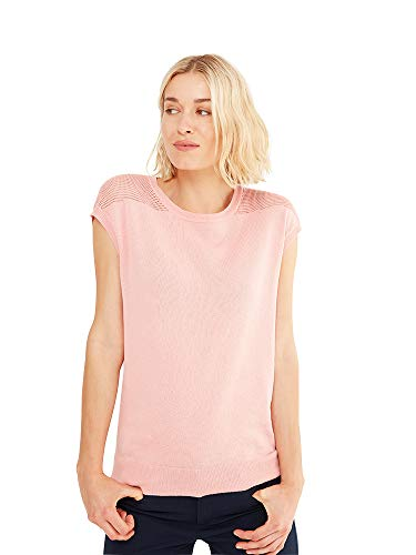 State Cashmere Women's Crew-Neck Knitted Pattern Cotton Cashmere Short Sleeve T-Shirt