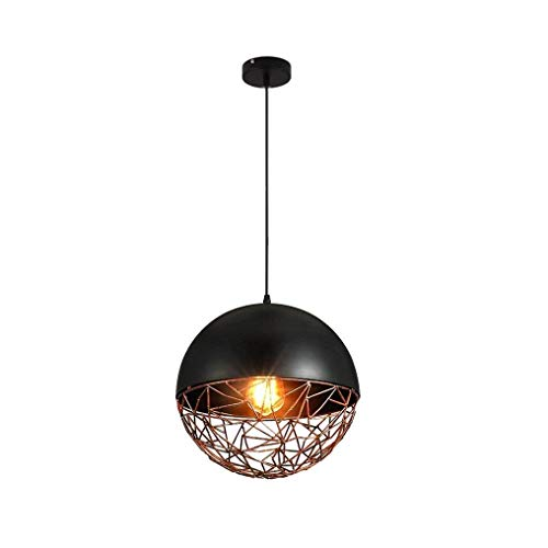 LUCY STORE Enjoyment Industrial Retro Design Pendant Lamp Pierced Lampshades Sphere Hanging Lamp Creative Vintage Black Metal Pendant Lamp Ø23CM Max 40W Dining Height Adjustable Luxury