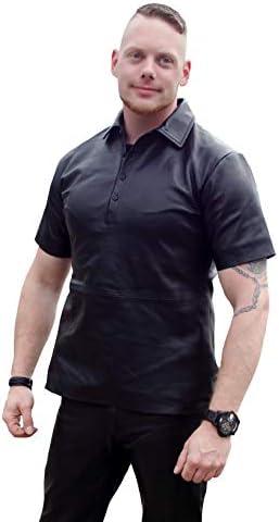 Leder Poloshirt Lederpoloshirt Schwarz Echtes Leder  S M L XL XXL 3XL 4XL 5XL