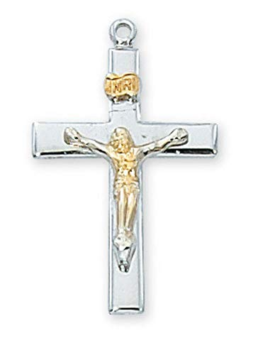 Hail Mary Gifts SS TUTONE Crucifix 18 CH&BX, Sterling Silver TUTONE Crucifix 18