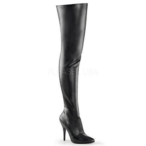 Pleaser Women's Seduce-3010 Thigh High Boot,Black PU,12 M US Black Patent Thigh High Platform