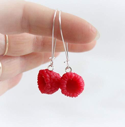 Red berrys raspberry Earrings, Polymer clay jewelry