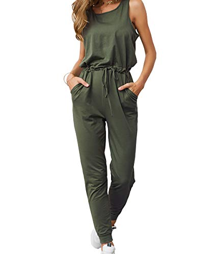 KIRUNDO Women's 2019 Summer Solid Casual Sleeveless Drawstring Waist Long Pants Rompers Jumpsuits with Pockets (Medium, Army Green) (Best Jumpsuits Summer 2019)