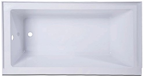 Voltaire Acrylic Left-Hand Drain with Integral Tile Flange Rectangular Drop-in Bathtub in white (60x30x20) -