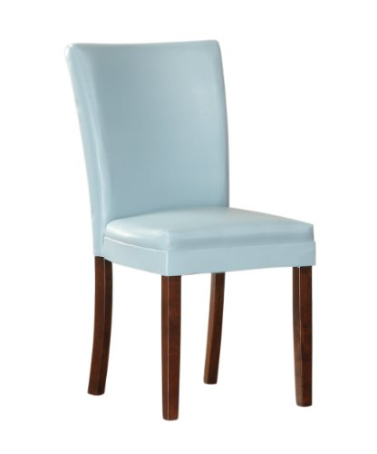 Homelegance 3276BS Bi-Cast Vinyl Parson Dining Chair (Set of 2), Sky Blue