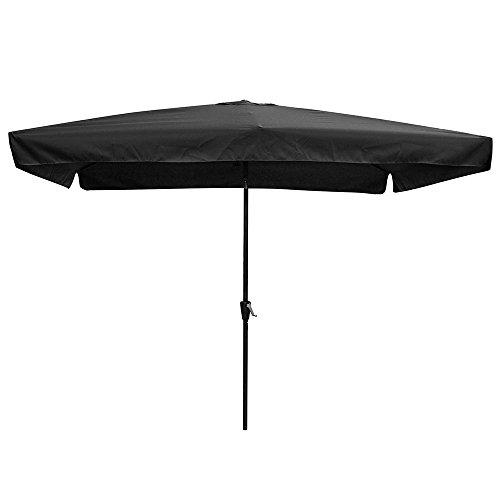 (Yescom 10x6.5ft (2x3m) Rectangle Aluminum Outdoor Patio Umbrella w/Valance Sunshade Crank Tilt Market Garden Black)