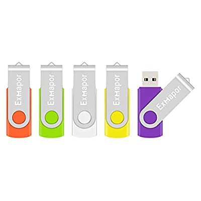 USB Flash Drive, Exmapor USB Swivel Thumb Drives Bulk Storage Memory Stick with Led Indicator, Orange/Green/White/Yellow/Purple (5PCS Mix Color) from Exmapor