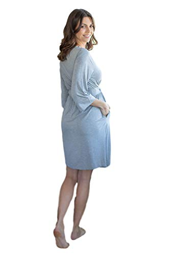 Baby Be Mine Maternity Labor Delivery Nursing Robe Hospital Bag Must Have (S/M pre Pregnancy 4-10, Light Heather Grey)