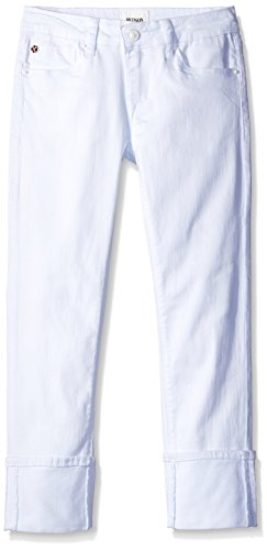 HUDSON Toddler Girls' Roll Cuff Crop Pant, White, 3T
